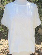 NWOT Gap Size M White Floral Cotton Blend Short Sleeve Pullover Top Blouse Shirt
