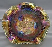 Modern Imperial LUSTRE ROSE Splendid Smoke Carnival Glass Footed Fruit Bowl 6920