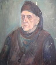Old Woman Portrait Vintage Oil Painting