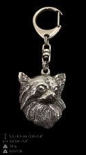Chihuahua à poil long porte-clés couvert d'argent de qualité supérieure ArtDogFR