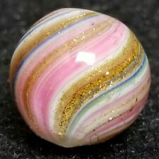 RARE PINK LUTZ COVERED ONIONSKIN GERMAN SWIRL HANDMADE MARBLE ANTIQUE PONTIL