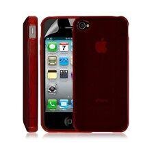 Housse coque etui gel rond transparent pour Apple Iphone 4/4S couleur rouge + Fi