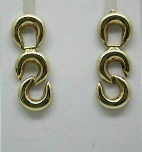 Very Nice Pair Of 9 Carat Gold Crescent Shaped Dropper Earrings