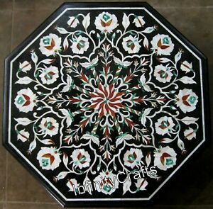18 Inches Marble Coffee Table Top Floral Pattern Inlaid Corner Table for Home