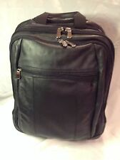 Wilsons Leather - Black Wheeled Rolling Business Laptop Travel Backpack Carry On