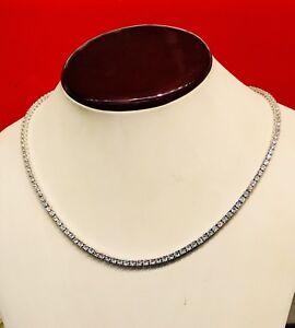 14K White Gold Over 925 - 16 Carat Round Cut VVS1/D Diamond Tennis 3mm Necklace