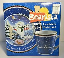 2000 Starbucks Bearista Plate & Mug Set Milk & Cookies For Santa