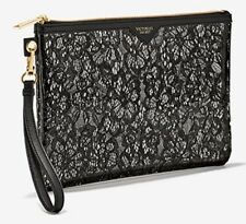 Victoria's Secret Clear Black Lacy Little Bag Wristlet Floral Lace Print Zip Up