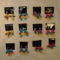 VINTAGE RETRO 80s MULTICOLOR GEOMETRIC DANGLE EARRINGS NOS LOT 12pr FREE S&H ES