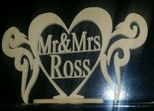 30cm RAW Mr and Mrs FREESTANDING sign wedding table centrepiece Mr&Mrs +surname