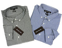 New Michael Kors Mens Slim Fit Check Dress Shirt Blue OR Black Multiple Sizes