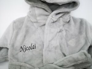 Embroidered Personalised Soft Baby  Dressing Gown Bath Robe Teddy EARS NEW GREY
