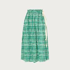 L.K.Bennett Violet Painterly Check Green Cotton Skirt