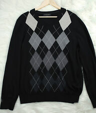 Banana Republic Silk Cotton Cashmere Black and Gray Argyle Sweater Mens Size L
