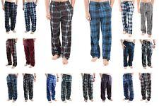 2 Pack Mens Pajama Pants Fleece Soft Plaid Lounge Sleep Bottoms with Pockets