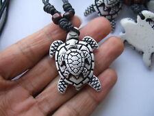 1pcs Wax Cord Yak Bone Resin Double Tortoise Turtle Charms Pendants Necklaces
