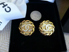 CHANEL Crystal Double CC Logo Gold-Tone Round Chain Rope Twist Clip Earrings