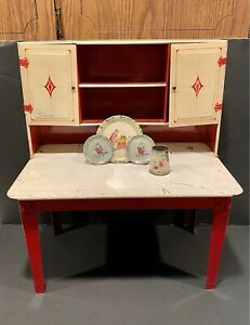Vintage Toy Tin Kitchen 50s WOLVERINE Hoosier Cabinet w/Antique Tin Litho Dishes