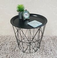 Geometric Black Wire Table Round Metal Contemporary Style Storage Side Basket