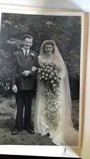 Vintage black and white Wedding photo. Bride and groom.