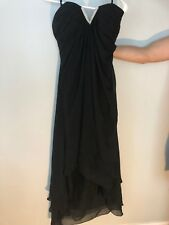Strapless Black Dress Size Large High Low Cocktail with rhinestones in front