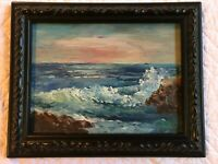Vintage SEASCAPE coast ocean oil Painting original hand painted sunset signed