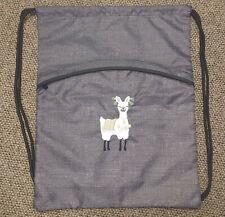 NEW THIRTY-ONE charcoal CINCH SACK DRAWSTRING BAG LLAMA embroidered SUPER CUTE