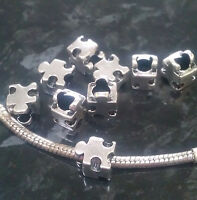 1 x Autism Awareness Jigsaw Puzzle Piece charm bead for European bracelets