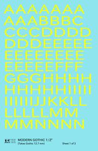 K4 G Decals Yellow 1/2 Inch Modern Gothic Letter Number Alphabet Set
