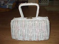 VIntage handmade white rattan with off white leather braided trim handbag purse