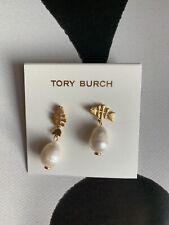 BN Tory Burch Gold Fish & Cultured Drop Earrings