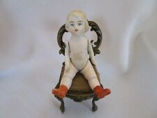 "Antique Bisque Girl Blonde Jointed Arms Legs 3.5 "" Doll House Doll Miniature"