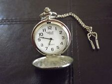 Vintage Montres Carlo Engravable Pocket Watch With Chain - Seiko Movement Silver