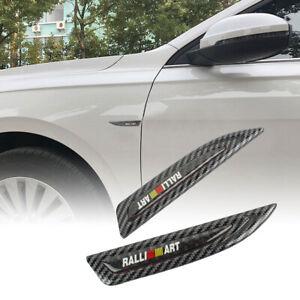 2x RALLIART Carbon Fiber Metal Emblem Car Trunk Side Wing Fenders Badge Sticker