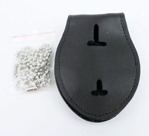 Leather Multi-function Police Clip Badge Holder U.S. Badge Lanyard Chaining