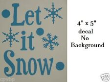 "Cute Let it Snow Christmas Decal Sticker for 6"" Glass Block DIY Crafts"