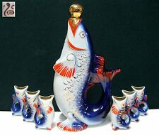 Soviet Russian Porcelain Decanter 6 Glasses FISH with Kids Polonsky ZHK 60s USSR