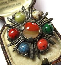 LOVELY VINTAGE JEWELLERY SIGNED MIRACLE CELTIC RAINBOW STRIPED AGATE PIN BROOCH