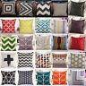 Geometric Vintage Flowers Linen Cotton Pillow Case Cushion Cover Home Sofa Decor