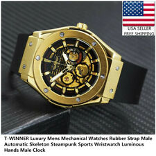 T-WINNER Luxury Mens Mechanical Watches Rubber Strap Male Automatic Wristwatch