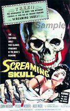 Vintage gritando cráneo Horror Movie Poster A2 impresión