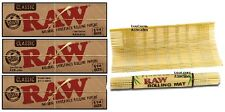 """3 PKS RAW Classic Unbleached 1.25 Papers + """"New Style"""" RAW BAMBOO ROLLING MAT"""