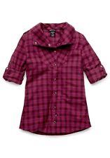Women's Oakley Cairn Flannel Woven L/S Shirt Magenta Purple Size XS