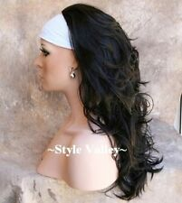Brown Black 3/4 Fall Darkest brown Hairpiece Long Wavy Half Wig Hair Piece