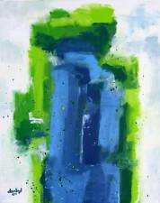 BLUE ABSTRACT Original Art PAINTING Artist DAN BYL Acrylic huge 60 inches x 48