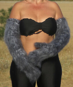 FUZZY Mohair BLACK & WHITE long mittens thick warm handmade soft ski Cosy