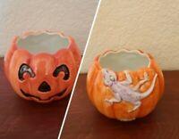 Fitz & Floyd Halloween Jack O Lantern Lizard Ceramic Tea Light Holder NO LID