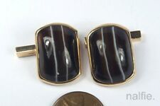 FINE QUALITY VINTAGE ENGLISH 9 CARAT GOLD & BANDED AGATE CUFFLINKS