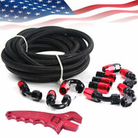 3/8 Fuel Line Braided Oil/Gas/Fuel Hose Line with Swivel Hose End Fitting Kits