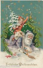 Weihnachtsmann Santa Präge-AK 1912 Fröhliche Weihnachten Christmas Noel 1611110